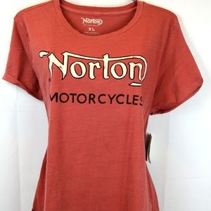 Lucky Brand XL Washed Red Norton Motorcycle Top